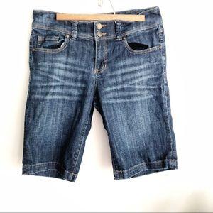 CAbi dark wash mid rise jean Bermuda shorts